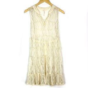 Free People Ivory Sheer Lace Babydoll Tank Dress